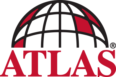 Atlas Logo (black sphere grid with red text)