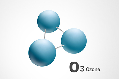Diagram of an 03 molecule (three spheres attached by three rods)